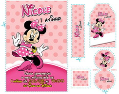Kit Minnie Bolinhas Rosa (mn04)