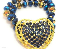 Bracelete Cora��o Azul