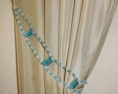 Abra�adeira de cortina azul