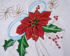 Pano de prato flores do natal pintada