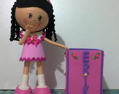 Boneca em EVA 3D com Porta Caneta