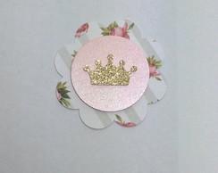 Tag (scrapbook) Coroa Glitter