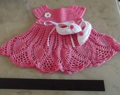 Vestido + sapatinho de croch� para beb�