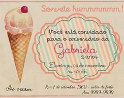 Convite Personalizado Sorvete Vintage