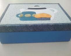 Caixa de ch� azul de arabescos