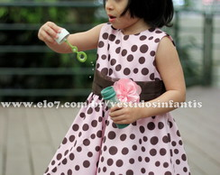 Vestido Rosa e Marrom Baby