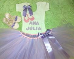 Conjunto Bailarina lil�s com rosa