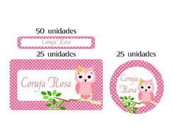 Kit Etiqueta prova a �gua Coruja Rosa