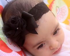 Faixa Baby renda flor - preta