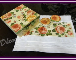 Kit Lavabo Rosas Passa Fita