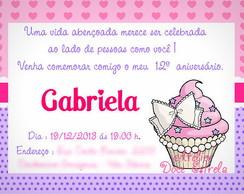 Convite Personalizado Cupcake Rosa
