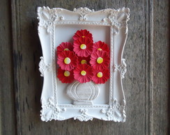 Moldura resina com flores