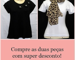 Kit T-shirt plus size + echarpe on�a