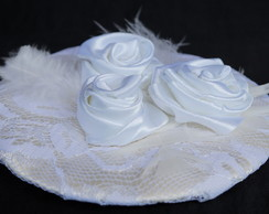 Casquete Cetim, Renda, e Flores Branco