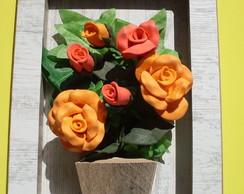 Quadro Flor De Eva Rosas Laranjas