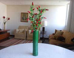 Vaso bambu, cor verde, com flores