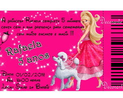 Convite Codigo Barras Barbie Moda  20x10