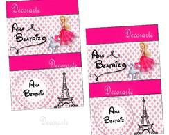 R�tulo Chicletes 6x4 Cm Barbie Moda