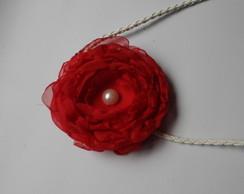 Headband Rosa Vermelha com p�rola