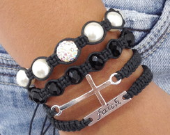 Kit Pulseiras Faith (f�) E Crucifixo