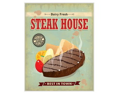 Placa MDF Retr� Steak House - 669