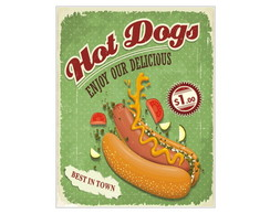 Placa MDF Retr� Hot Dogs Delicious - 670
