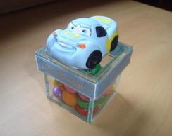 Caixa de vidro com carro de biscuit