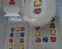 Jogo de banheiro flores multicoloridas