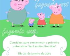 Arte digital convite Tema Peppa Pig