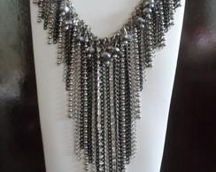 Maxi Colar de franjas prata e preto
