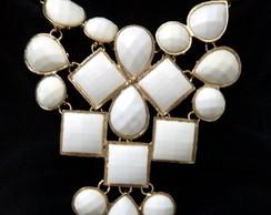 Maxi Colar Dourado E Branco