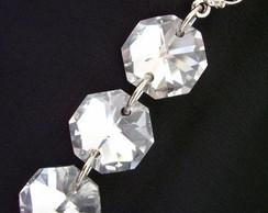 Brinco cristais prata