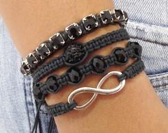 Kit pulseiras infinito black