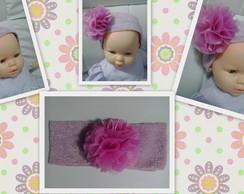 Faixa cabelo beb� Cam�lia Rosa