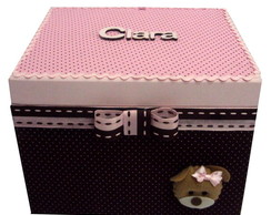 Photobox Clara - rosa com marrom