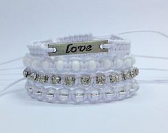 Kit pulseiras Brancas - Love