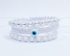 Kit de pulseiras branca e olho grego
