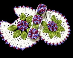 Jogo De Banheiro De Croch� Flor Uva Roxa