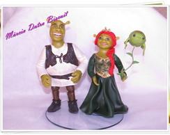 Topo de bolo casal Shrek e Fiona