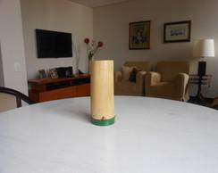 Vaso bambu, cor natural, barra verde