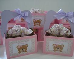 cestinha ursinhas rosa e lil�s-lembran�a