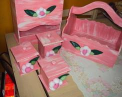 kit menina com flores de tecido