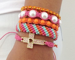 Kit Pulseiras com crucifixo cores ver�o