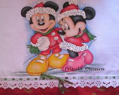 """Pano de prato """"Disney Natal"""""""