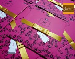 Convite Para 15 Anos Pink Arabescos