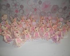 Lembran�as ursas em biscuit rosa