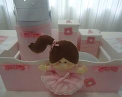 Kit Higiene Beb� Boneca Rosa c/ Garrafa