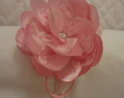 Tiara De Flor Com Renda Rosa