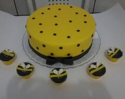 bolo e cupcakes abelhinhas