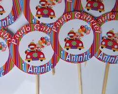 Topper Docinho/cupcake Circo Palha�o